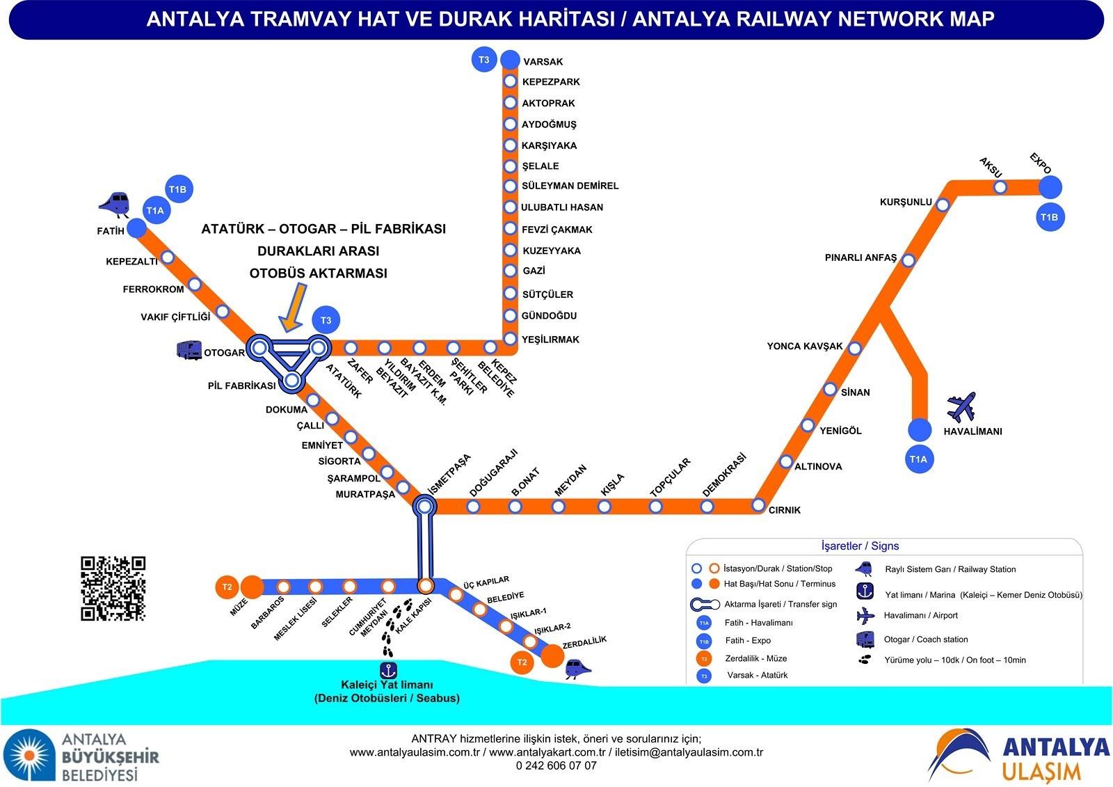 خط الترامفاي مواصلات عامة في انطاليا تركيا