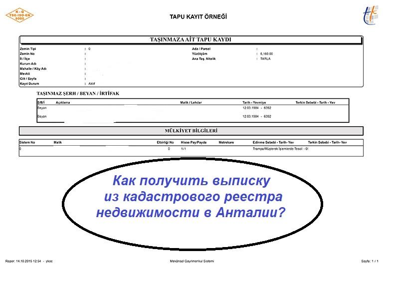 Как получить выписку из кадастрового реестра недвижимости в Анталии?