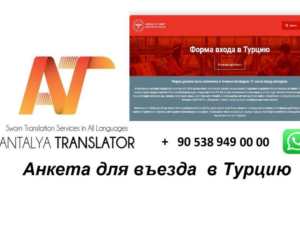 Анкета для въезда в Турцию